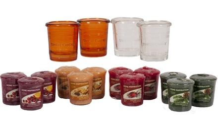 Yankee Candle Four Bucket Votive Holders and Twelve Home Inspiration Fragranced Votives
