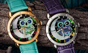 Bertha Ashley Owl Engraved Mother-Of-Pearl Watch