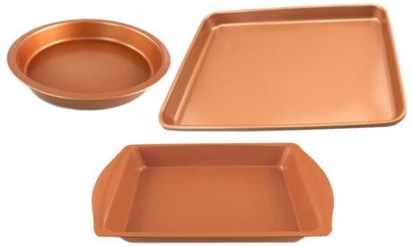 Round Baking Pan, Rectangular Baking Pan, Cookie Sheet, or Baking Pan and Cookie Sheet Bakeware Set (3-Piece)