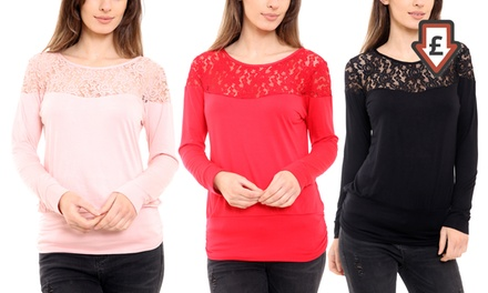 Lace Panel Tunic Top
