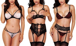 Baci Women's Sexy Crotchless Lingerie Set