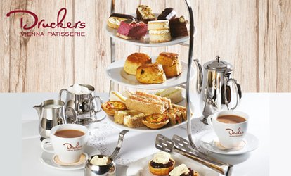 Afternoon Tea for Two with Optional Four-Slice Takeaway Treat Box at Druckers Vienna Patisserie (Up to 33% Off)