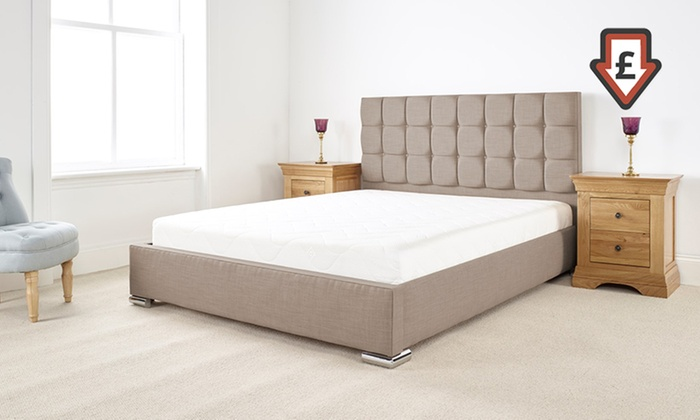 Thames textured linen bed frame groupon goods for Bed frame and mattress deals