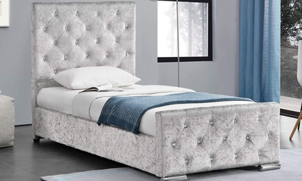 Beaumont Crushed Velvet Bed Frame with Optional 5″ Deep Spring Mattress With Free Delivery