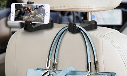 One ($9.95) or Two ($15) Two-In-One Auto Backseat Headrest Hook Hanger Smartphone Holders