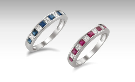 11-Stone Wedding Band with Diamonds and Sapphires or Diamonds and Rubies