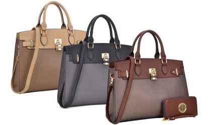 777374a51a93b1 Shop Groupon MK Belted Collection Marco Faux Leather Satchel with Matching  Wallet