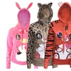 Cotton-Blend Animal Print Hoodie with Matching Ears