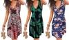 Summer V-Neck Printed Sleeveless Beach Dress