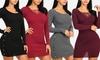Women's Bodycon Long-Sleeve Mini Sweater Dress