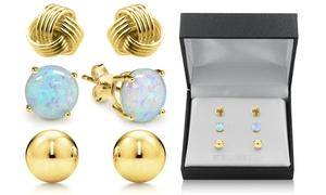 18K Gold Over Sterling Silver Stud Earring Set by MUIBLU GEMS