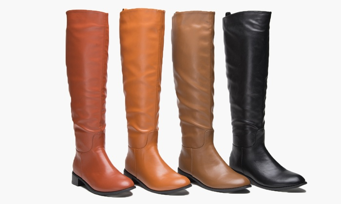 Sociology Women's Flat Riding Boot | Groupon Exclusive