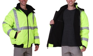 Maxxsel Men's High Visibility Neon Safety Bomber Jacket