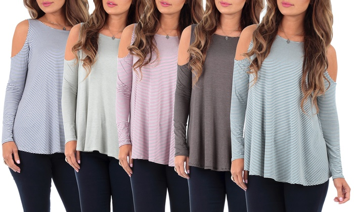 Women's Striped Two-Tone Cold Shoulder Tunic Top