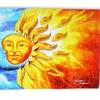 "30""x60"" Sun and Moon Merging Cotton Beach Towel"