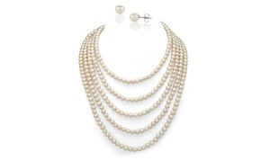 Genuine Freshwater Pearl Necklace with Pearl Studs