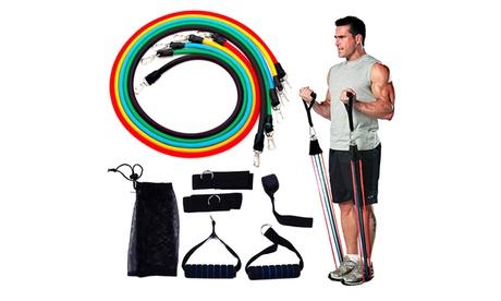 Set per allenamento e riabilitazione con fasce elastiche e cinghie a 5 livelli di resistenza