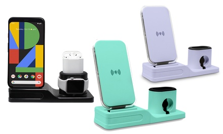 Aduro 3-in-1 Qi Wireless Desktop Charging Station for iPhone, iWatch, and AirPods