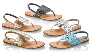 Sociology Women's Laser-Cut Thong Sandals: Sociology Women's Laser-Cut Thong Sandals | Groupon Exclusive