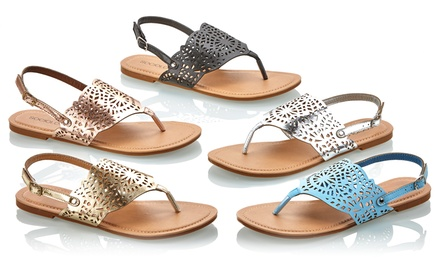 Sociology Women's Laser-Cut Thong Sandals | Groupon Exclusive