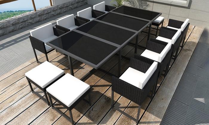 Sedie In Rattan Da Interno : Set tavolo e sedie da 8 a 12 posti groupon goods