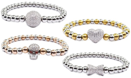 Solid Stainless Steel Cubic Zirconia Stackable Bead Bracelet by Pink Box b697c5ac-5b0a-11e7-a221-00259060b5da