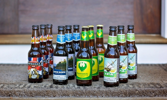 12 microbrewed beers in bottles.