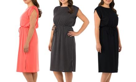 Sociology Plus-Sized Cap-Sleeve Midi Dress   Groupon Exclusive (Sizes 2X & 3X)