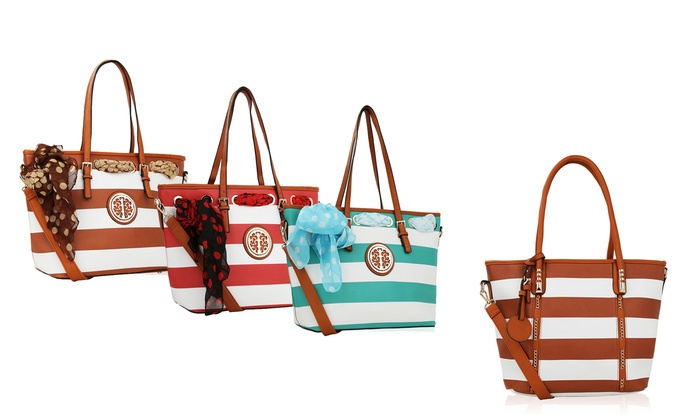 MKF Collection Marina or Emblem Striped Tote