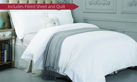 for a 1500TC Cotton Fitted Sheet Set and Quilt Cover Set Combo Don't Pay up to $239