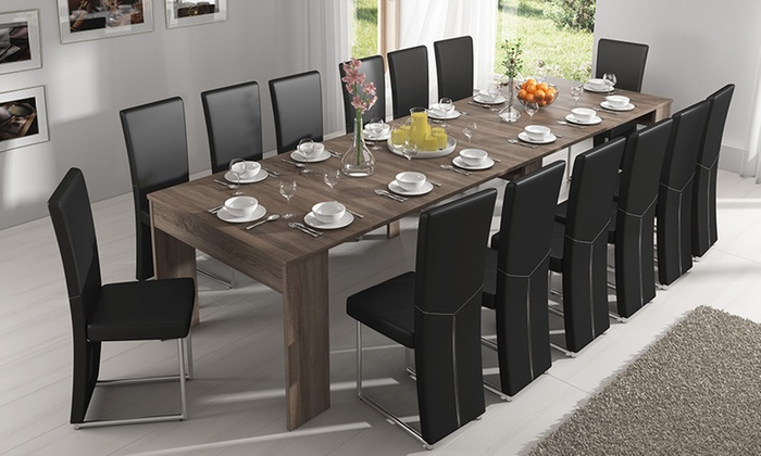 Table extensible en 3 couleurs groupon for Table extensible jusqu a 14 personnes