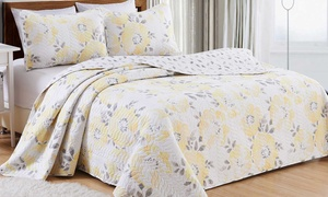 Helene Collection Floral-Printed Quilt with Shams Set (3-Piece)