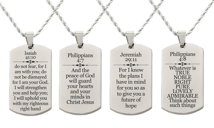 Black Pink Box Solid Stainless Steel Scripture Tag Necklace Jeremiah 29:11