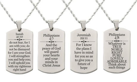 Pink Box Holy Scripture Tag Necklace in Solid Stainless Steel