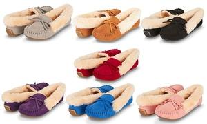 Floopi Women's Basic Memory Foam Moccasin Slipper W/Faux Fur Collar