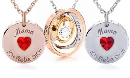Halskette mit Anhänger zum Muttertag mit Gravur nach Wahl und Kristallen von Swarovski®