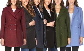 Haute Edition Women's Double Breasted Coats. Plus Sizes Available.