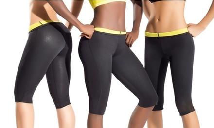 Sweatshaper fitnessbroek in caprimodel, gericht op extra calorieverbranding door zweetactivatie
