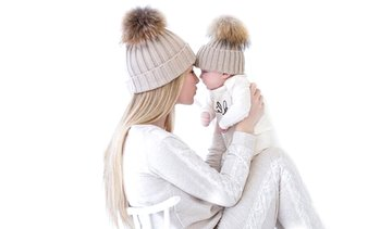 Mum and Baby Pom Pom Hat Set