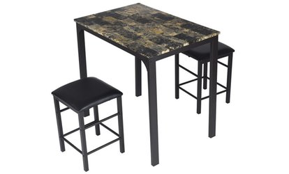 Shop Groupon Counter Height Faux Marble Dining Set With Table And 2 Chairs  (3 Pc