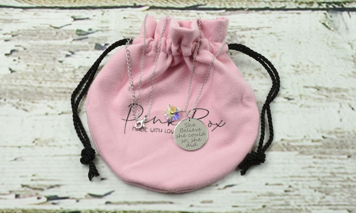 """/""""You Got This/"""" Inspirational Quote Silver Glass Necklace New Gift Bag"""