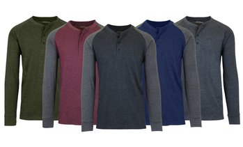 Galaxy By Harvic Men's Long-Sleeve Marled Henley Tee (S-3XL)