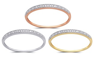 Diamond Accent Band in 10K Solid Gold by Brilliant Diamond