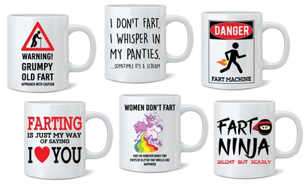 One or Two Fart Novelty Ceramic Mugs