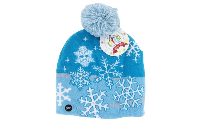 037782287fafc Ugly Sweater-Style Light-Up Holiday Beanie Hat