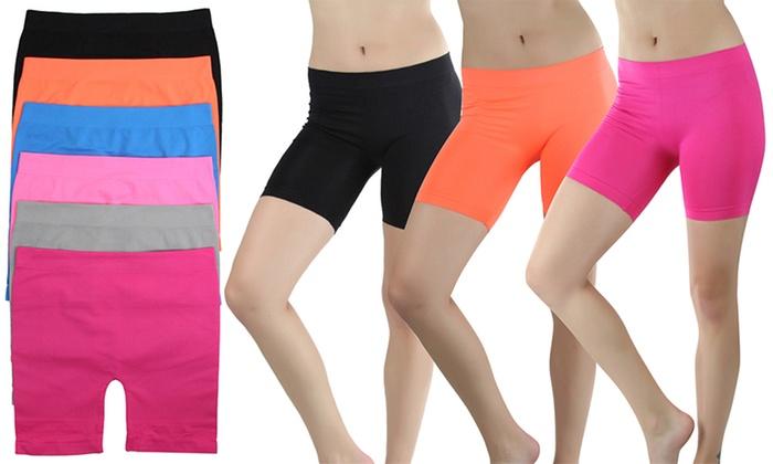 Women's Seamless Microfiber Running Shorts (6-Pack)