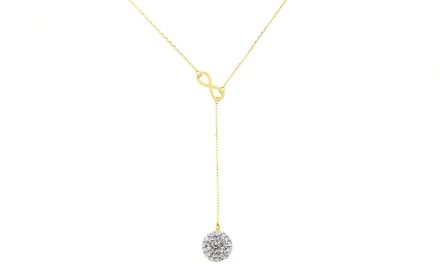 Infinity Y Necklace with Swarovski Elements in 14K Gold Plated Sterling Silver