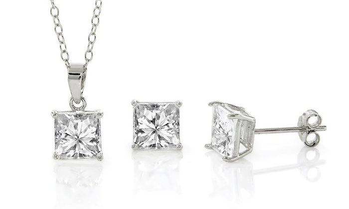 2238f6532 Cubic Zirconia and Sterling Silver Princess Cut Pendant & Earring Set.  Simulated-Diamond Jewelry Set