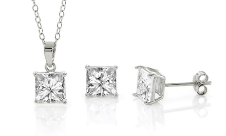 Cubic Zirconia and Sterling Silver Princess Cut Pendant & Earring Set