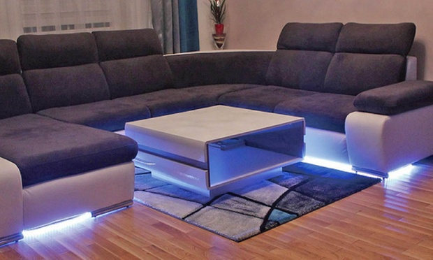 Blue strip couch